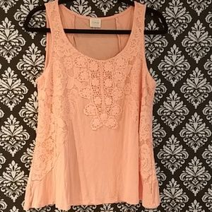 Cupio pink lace top sz Large (N)
